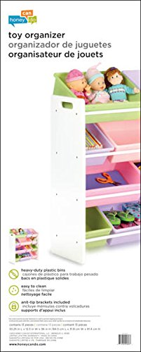 Honey Can Do SRT 01603 Kids Toy Organizer And Storage Bins, White/Pastel